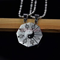 Black Silver Tone Enamel Stainless Steel Chinese Taoism Tai Chi Yin Yang  Couples Love Charm Pendant Necklace Free Chain 50CM