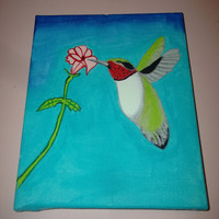 Ruby-Throated Humming Bird Painting Acrylic Art Wrapped Canvas Home Decor Nature Missy69