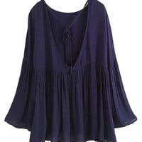Navy Strappy Backless Bell Sleeve Pleated Blouse