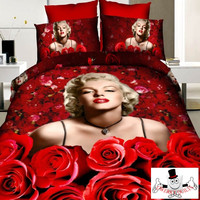 Red Rose Marilyn Monroe Bedding Set and Quilt Cover 7pc