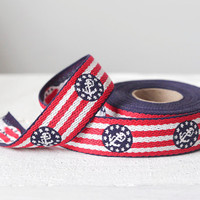 Vintage Embroidered Trim - Retro Sailor Red, White, and Blue Anchor Pattern, 5 Yard Spool