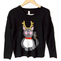 Jingle Bell Reindeer Kitty Cat Lady Ugly Christmas Sweater