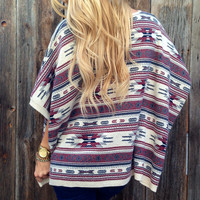 Aztec Sweater Poncho - FINAL SALE