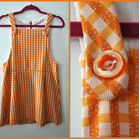 Vintage 60s Mod Orange and Cream Gingham Polyester Knit Micro Mini Dress / Sleeveless A-Line Pinafore Jumper Tunic Shift / Size Small Medium