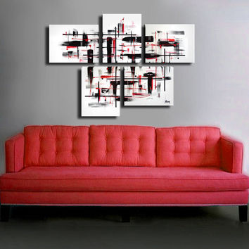 "Original abstract painting. 5 piece canvas art. 29x41"" Large painting with on black and white with red details. Large painting"