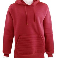 Solid Biker Fleece Pullover Hoody