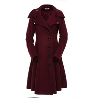 ForeMode Turn-down Collar Single Breasted Slim Coats Women Winter Overcoat 2017 Women Irregular Hem