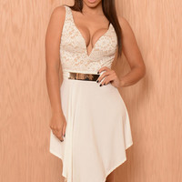 White Lace Plunging Neck Asymmetric Prom Dress