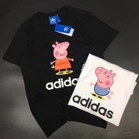 ADIDAS PEPPA PIG Print Tee Shirt Top Women Men Tee B-YF-MLBKS Black
