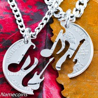 Music Jewelry Electric Guitar and Musical Note Relationship Necklaces, interlocking hand cut coin