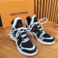 LV Louis Vuitton Sci-Fi Trending Women Men Casual Stitching Color Shock Absorption Breathable Net Surface Running Sport Shoe Sneakers Black White I-AA-SDDSL-KHZHXMKH
