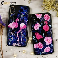 CASEIER Phone Case For iPhone 6 6s 7 8 Plus Liquid Glitter Dynamic Sand Cases For iPhone X 3D Relief Quicksand Coque Capa Shell