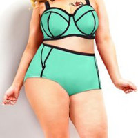 Spaghetti Strap Color Block High-Waisted Plus Size Bikini Set