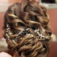 Bridal Crystals & Pearl Wedding Proms Bridal Hair Vine Headband Tiara