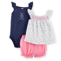 """Carter's Girls 3 Piece """"Happy Sailing"""" Sleeveless Bodysuit, White/Navy Anchor Print Top, and Pink Bloomer Set"""