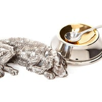 Silver-Plated Dog Salt Cellar & Spoon, Salt & Pepper, Accessories