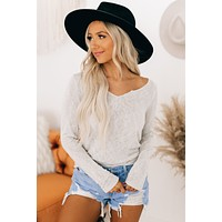 As I Am V Notch Long Sleeve Top (Taupe Grey)
