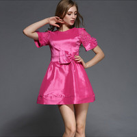 Rose Red Floral Embroidery Lace Sleeve Silk A-Line Dress