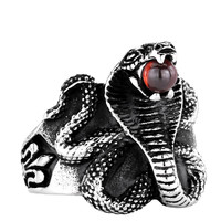 Cobra Red Stone Snake Ring - Heavy Metal Punk Style