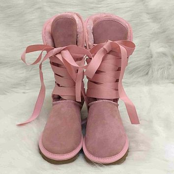 "UGG"" Women Fashion Wool Snow Boots Calfskin Shoes"