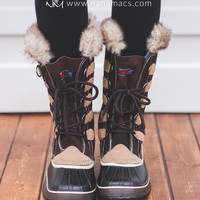 Falling Snow Tall Fur Leather Boots (Brown)