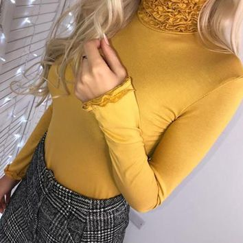 New Yellow Plain Ruffle High Neck Going out Casual Blouse