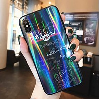 GUCCI Popular Personality Laser Graffiti Series Glass iPhone Cover Case For iPhone X 8 8 Plus 7 7 Plus 6 6 Plus Black I13087-1