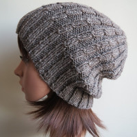 Hand-knit, Chunky and Textured Unisex Cabled Beanie Hat in Rustic and Natural Taupe