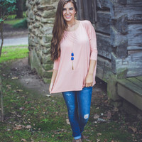 3/4 Sleeve Round Neck Piko Top in Nude
