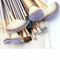 18 Pcs. Makeup Brush Set - Beige