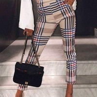 Khaki Plaid Pockets Elastic Waist Fashion Long Pants