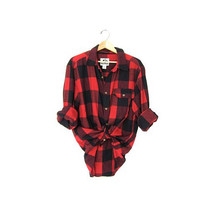 Vintage RED and black CAMPUS Buffalo check Plaid Flannel / Grunge Shirt / Button up shirt