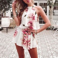Summer Two Pieces Set Off Shoulder Floral Print Women's Sets Summer Sexy Halter Sleeveless Tops + Shorts H6