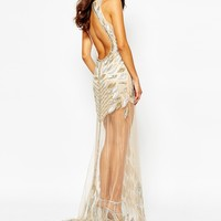 A Star Is Born Luxe Allover Jewel Embellished Maxi Dress