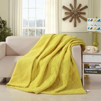DaDa Bedding Tuscan Sun Yellow Quilted Ultra Sonic Throw Blanket Bedspread (BJ0107)