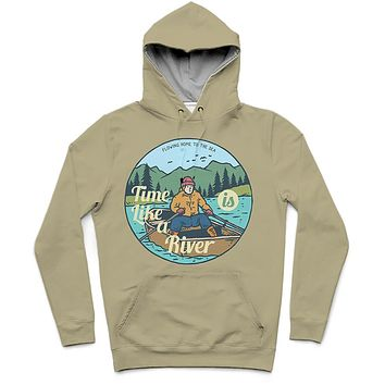 River Time Trendy All-Over Print Solid Neutral Green Hoodie