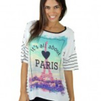 "Black And White Striped ""Paris"" Top"