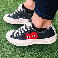 "Vsgirlss ""Converse"" Play Red Heart Fashion Canvas Flats Sneakers Sport Shoes Low Tops Black"