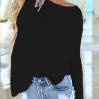 Black Piko Bamboo Long Sleeved T-Shirt Loose Slouch Boat Neck Classic