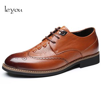 Leyou Men Brogues Leather Shoes Derby Men Plus Size Shoes Oxford Luxury Brand Spring Autumn Men Shoes Business Brand