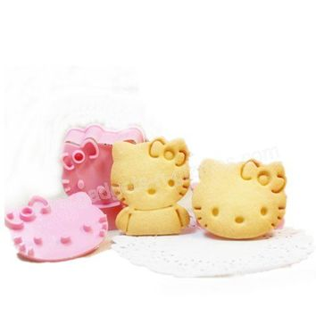 Hello Kitty Pink Cookie Cutter Stamp Mold Set 2pcs/pk Holiday Party Supply Free Shipping $4.69  Gadgets-N-Gizmos.com