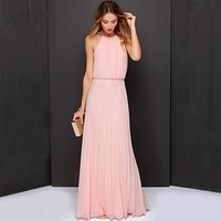 Women Fashion Sexy Solid Sleeveless Halter Pleated Casual Long Dress Sundress
