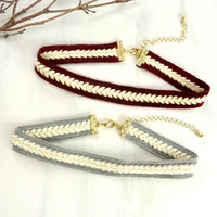 Faux Suede Braided Choker Necklace