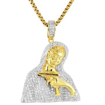 Mother Mary with Gun Sterling Silver Pendant Chain