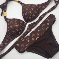 LV BIKINI Louis Vuitton Swim Women Sexy Print Two Piece High Neck Knot Bikini B-KWKWM Coffee Print
