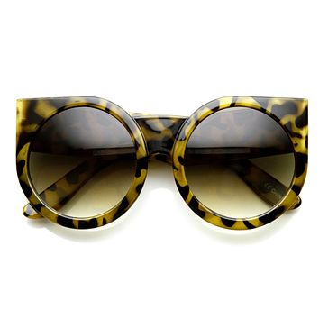 Women's Designer Super Bold Round Cat Eye Sunglasses 9278