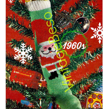 Classic Christmas Knitting Pattern • 1960s STOCKING Pattern • Standing Santa showing Hands • PdF Pattern • Vintage Knit Pattern • Retro