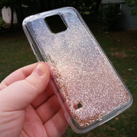 Iphone 6 Clear Ombre Gradient Rose Gold Glitter Phone Case, Gold Sparkle Case, Iphone 6 Plus Case, Iphone 5 5s 5c, Iphone 4s, Galaxy s4 5 6