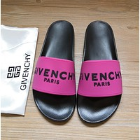 Givenchy 2020 New slippers Black/Rose red