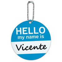 Vicente Hello My Name Is Round ID Card Luggage Tag